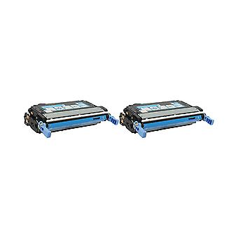 RudyTwos 2x Replacement for HP 643A Toner Unit Cyan Compatible with Colour LaserJet 4700, 4700dn, 4700dtn, 4700n, 4700ph+