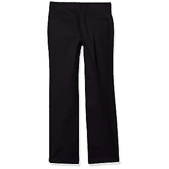 Essentials Boy's Straight Leg Flat Front Uniform Chino Pant, Zwart, 7(S)