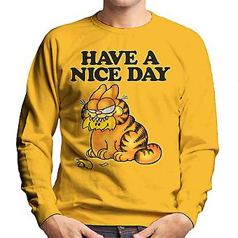 Garfield Smashed Smiley Face In Mouth Have A Nice Day Men's Sweatshirt