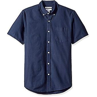 Essentials Men's Regular-Fit Kurzarm Tasche Oxford Shirt, Marine, Medium