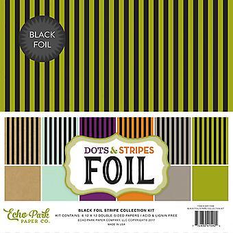 Echo Park Dots & Stripes Black Foil Stripe 12x12 Inch Collection Kit