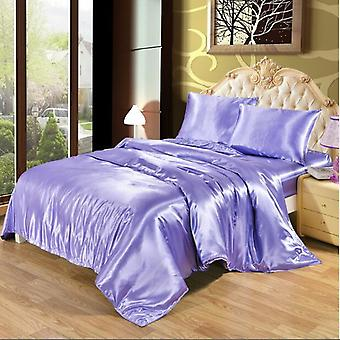 White Black Bedding Sets, King Size Double Satin Silk Summer Used Single Bed