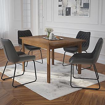 Angel/Arianna 5Pc Dining Set - Walnut Table/Vintage Charcoal Chair