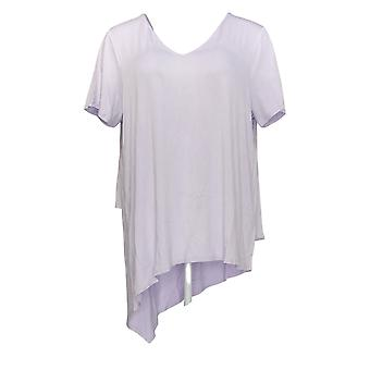 Lisa Rinna Colección Mujer's Top V-Neck W/Chiffon Back Dtl Purple A303168