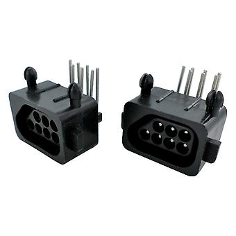 Controller connector port for nintendo nes console 7 pin 90 degree replacement - 2 pack black | zedlabz