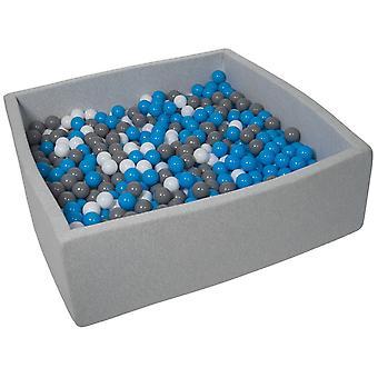 Poço de bola quadrada 120x120 cm com 900 bolas brancas, azuis e cinzas