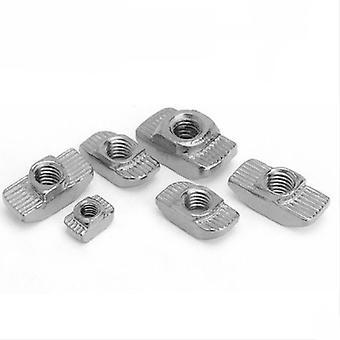10-100pcs T Cabeza de martillo de tuerca- M3/m4/m5/m6/m8 Conector niquelado para 20/30/40/45 Series- Accesorios de perfil de aluminio