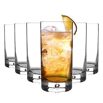 Bormioli Rocco 6 Piece Barglass Highball Glasses Set - Classic Contemporary Cocktail Tumblers - Bubble Base - 375ml