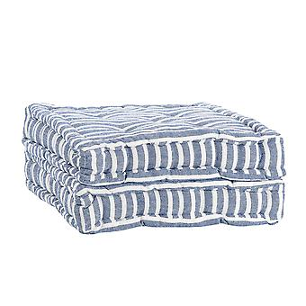 Nicola Spring Square Padded French Mattress Dining Chair Cushion Seat Pad - Blue Stripe - Pack of 2