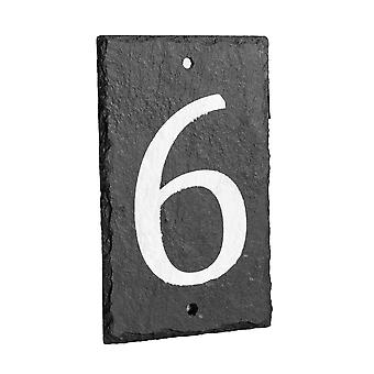 Natural Solid Slate House Numbers (0-9) Including Fixings & Caps - Number 6