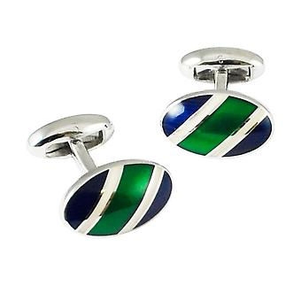 Slips Planet Van Buck Platinum Navy, Grøn og hvid stribet Oval designer Manchetknapper