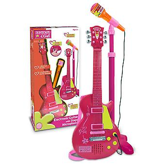 BontempI iGirl Electronic Rock Guitar With Stage Microphone Pink