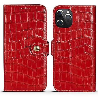 For iPhone 12 Pro/12 Case Genuine Leather Crocodile Texture Wallet Cover Red