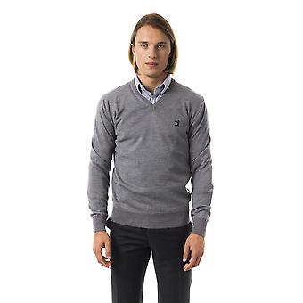 Uominitaliani Gri Grey Extrafine Wool Merinos Fabric Sweater