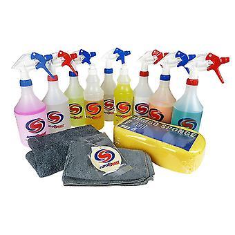 Autosmart kit de limpeza de carro completo manobrista pacote carro cuidado lavar shampoo esponja polimento