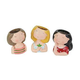 Set of 3 Fabulously Female Lady Head Mini Planters 3.75 Inches High