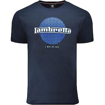 Lambretta Mens Graphic Casual Crew Neck Retro Cotton T-Shirt Top Tee - Navy
