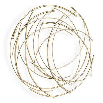 Gold Metal Abstract Round hanging Wall Art Decor