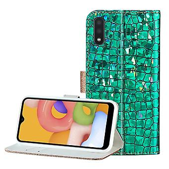 For Galaxy A01 Laser Glitter Stitching Crocodile Texture Horizontal Flip Leather Case with Slots & Bracket(Green)
