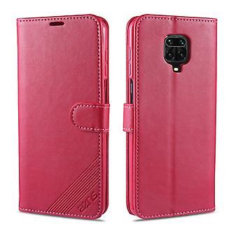 För Xiaomi Redmi Note 9S / Obs 9 Pro AZNS Fårskinnstexturstruktur Horisontellt Flip läderfodral med hållare & Kortplatser & Plånbok(Röd)