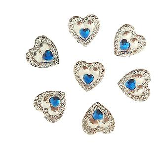 40 Heart Gems 12mm Clear With Mini Blue Heart Center Quality Resin Embellishments