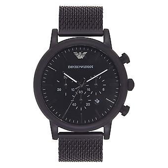Armani AR1968 Black IP Stainless Steel Mesh Chronograph Men's Emporio Watch