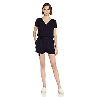 Brand - Daily Ritual Women's Tencel Short-Sleeve Wrap Romper, Navy, 16