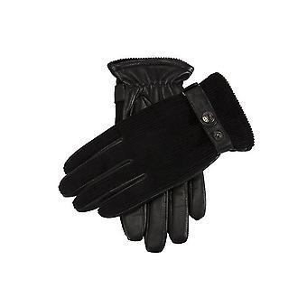 Men's Fleece Lined Corduroy & Leather Gloves