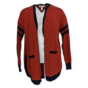 Rachel Hollis Ltd Women's Sweater Intarsia Varsity Rust Brown A374196