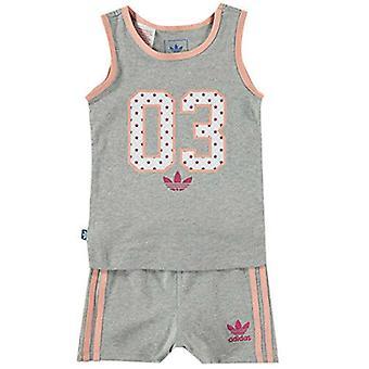Adidas Originals Grey Peach Sleeveless Vest Top Shorts Infant Set S14373 A1B