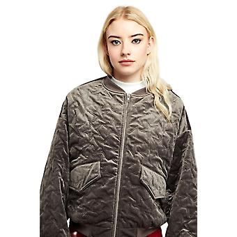 Louche Womens Walt Cord Balloon Sleeve Bomber Jacket Grey