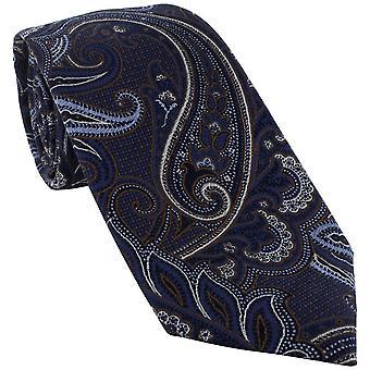 Michelsons of London Extravagant Paisley Silk Tie - Ruskea