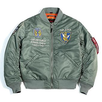 Men's Casual Air Force Pilot Jacket, Oversized Tops For Spring, Autumn