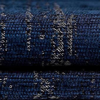 McAlister tekstiilit kuvioitu Chenille Navy sininen kangas näyte