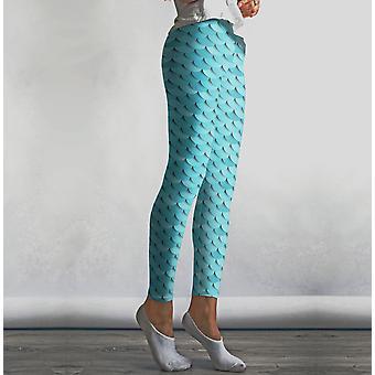 Babyblå sjöjungfru leggings med hög midja