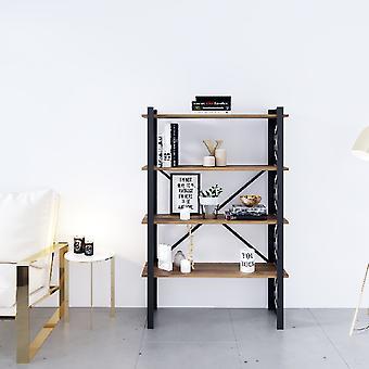 Bubble Black Boekenkast, Metaalhout, Melamine Spaanplaat, L90xP35xA150 cm, L82xP29xA34,5 cm