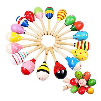 Colorful Wooden Maraca For Baby Child Musical Rattle Shaker Toy