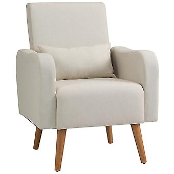HOMCOM Linen Nordic Armchair Sofa Chair Solid Wood Living Room - Cream White