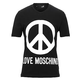 Love Moschino Large Brand Peace Logo T-Shirt nera