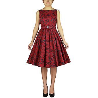 Chic Star Plus Size Estampado Vestido sem Mangas Em Floral Vermelho