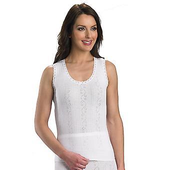Slenderella Chilprufe Cotton White Sleeveless Cami Top CUW511