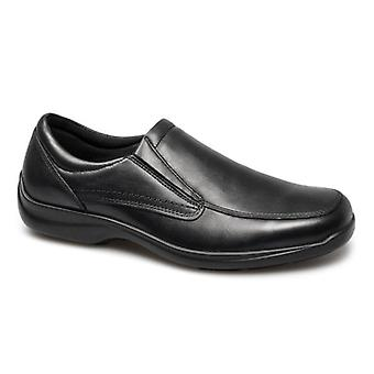 IMAC Finlay Mens Leather Twin Gusset Loafers Black