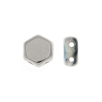 Czech Glass Honeycomb Beads, 2-Hole Hexagon 6mm, 30 Pieces, Crystal Silver Rainbow