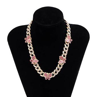 Punk Luxury Crystal Butterfly Choker Necklace for Women Kpop Rhinestone Chain Necklace(golden&pink)