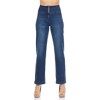 Denim hoge taille uitlopende broek met 3 knopen