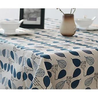 90cm مفرش المائدة البوهيمي والكتان منقوشة صغيرة منقوشة طاولة طاولة القهوة منقوشة جديدة مفرش المائدة (الأزرق)