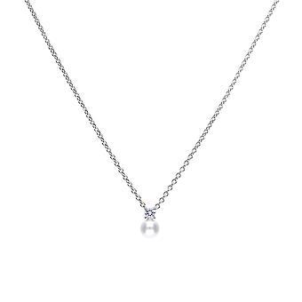 Diamonfire Womens 925 Sterling Silver Rhodium, Palladium & Platinum Plated Clear Cubic Zirconia & Pearl Round Hänge Halsband av längd 40cm - 45cm