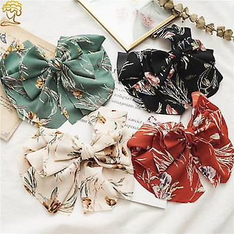 Ladies bow hair ring and hairpins spring clip women's ponytail