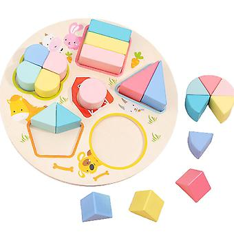 Montessori Toy Fraction Puzzle Board Shapes Sorting Geometric Shapes Early Educational Toy