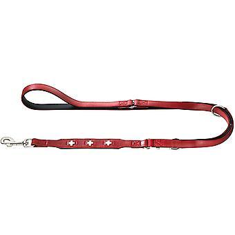 Schweizer Verstellbare Führleine für Hunde, Leder, hochwertig, schweizer Kreuz, 1,8/200 cm, rot